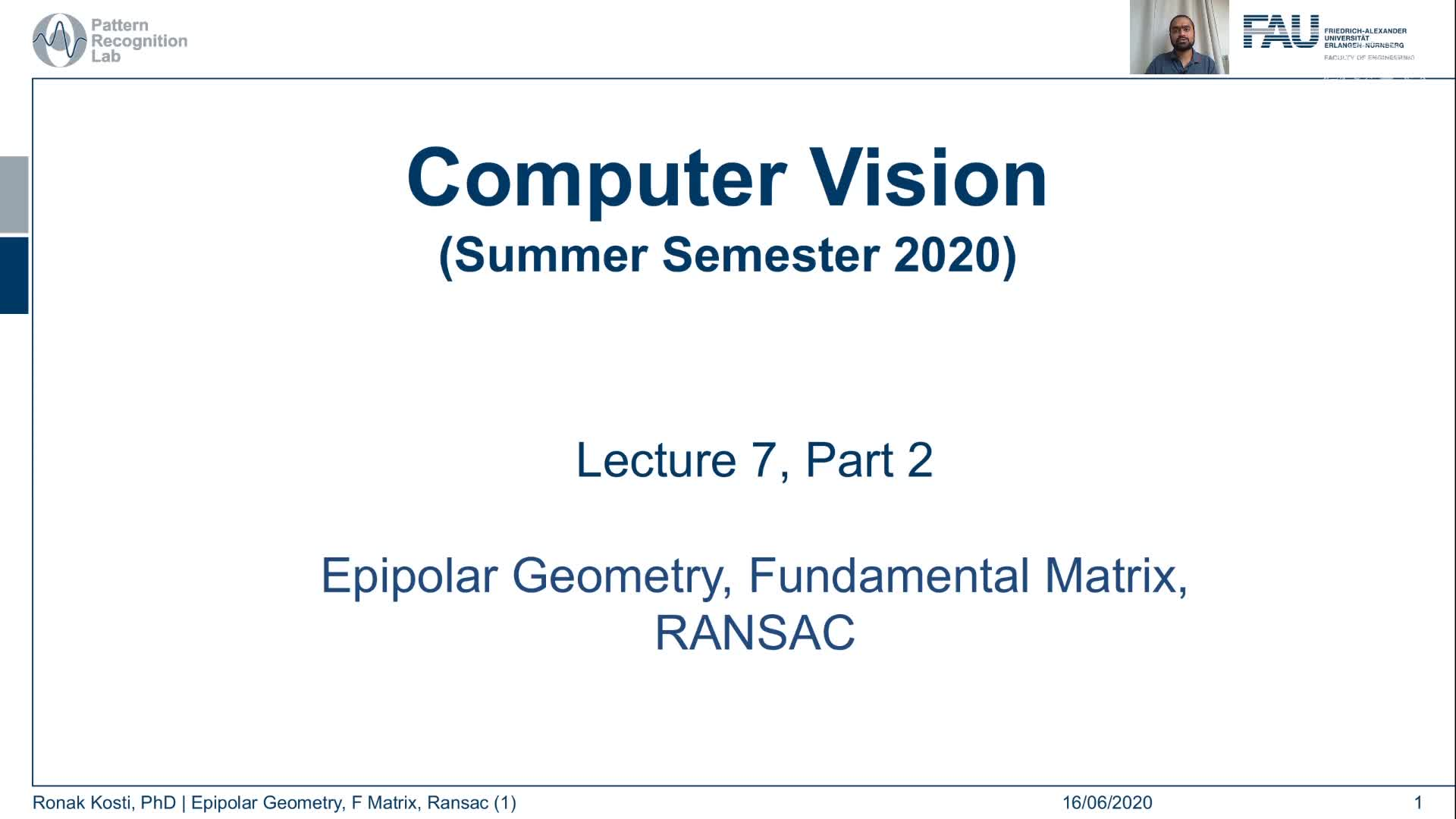 Epipolar Geometry and Ransac (Lecture 7, Part 2) preview image