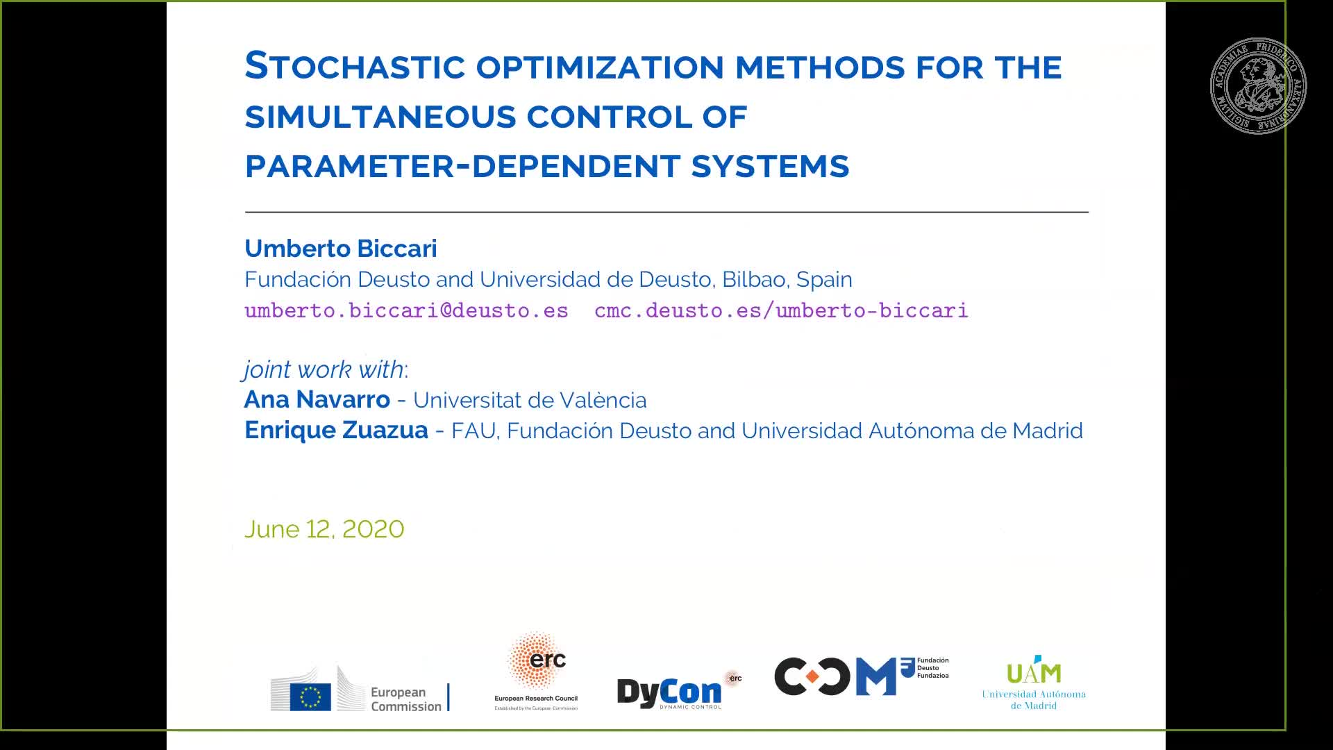 Stochastic optimization methods for the simultaneous control of parameter-dependent systems preview image