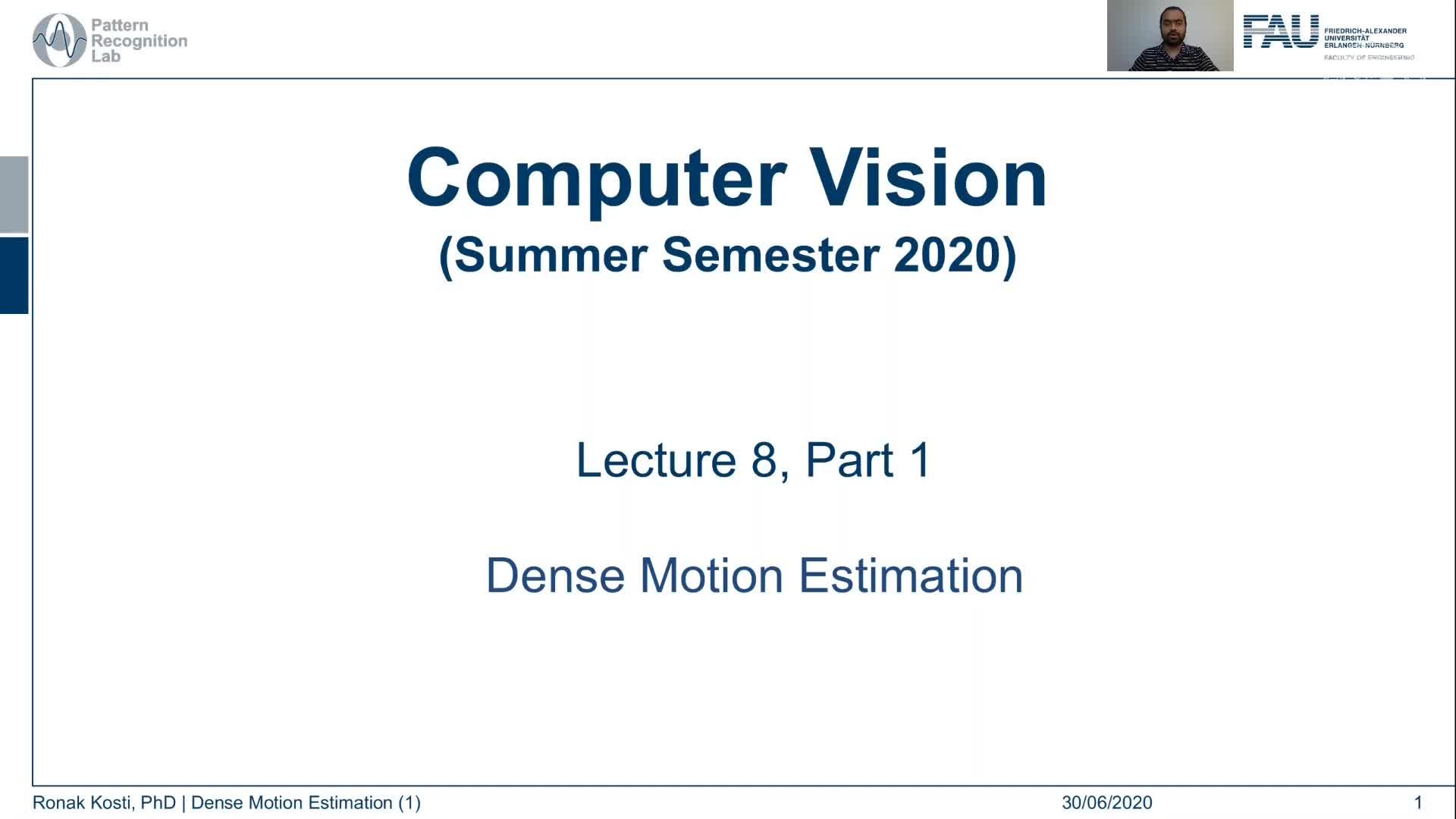 Dense Motion Estimation (Lecture 8, Part 1) preview image