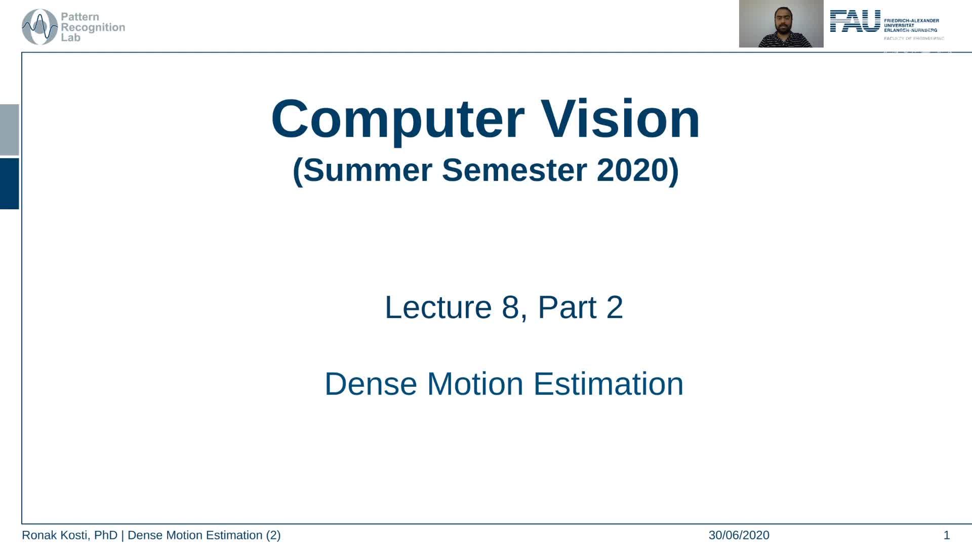 Dense Motion Estimation (Lecture 8, Part 2) preview image