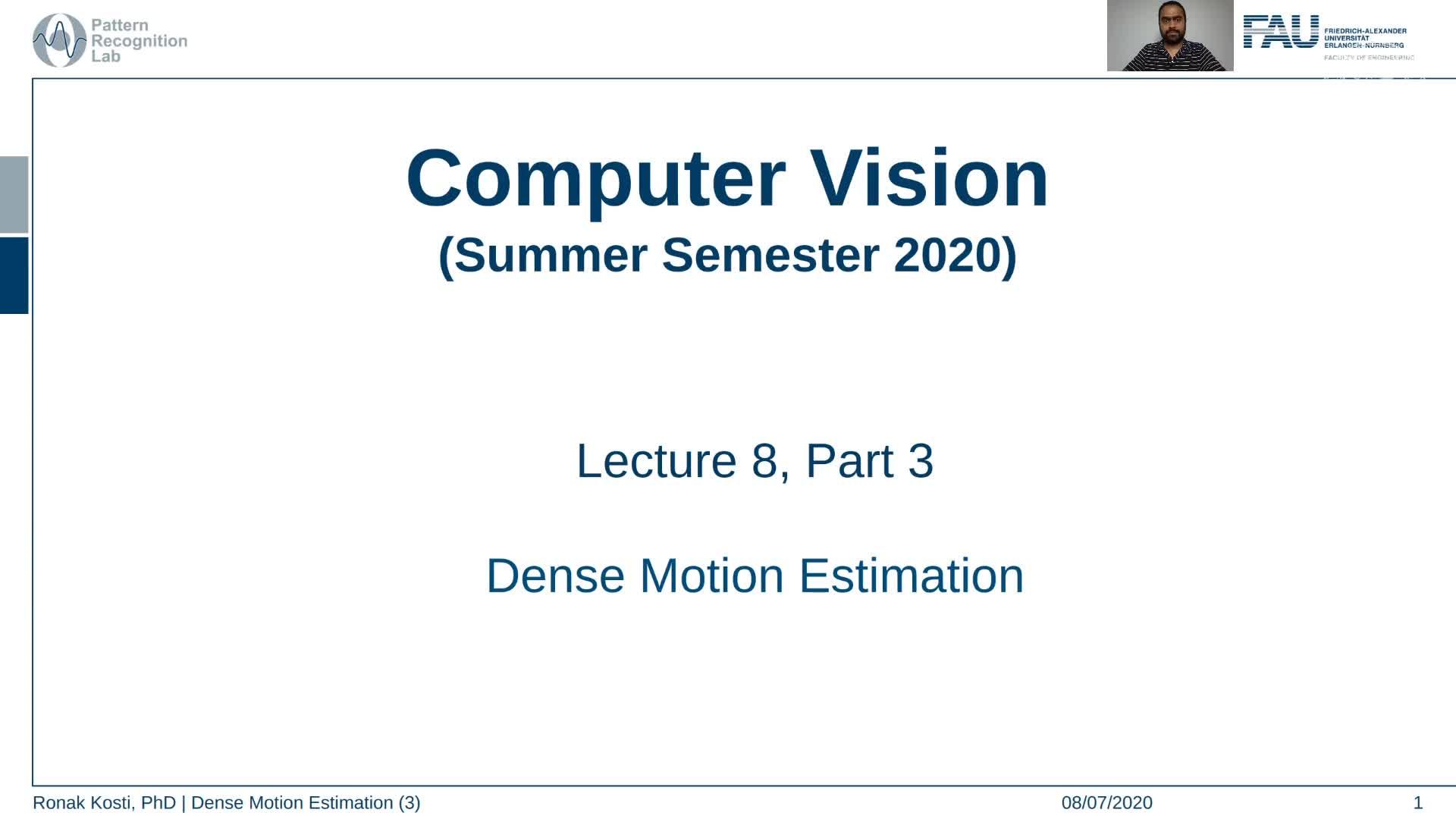 Dense Motion Estimation (Lecture 8, Part 3) preview image
