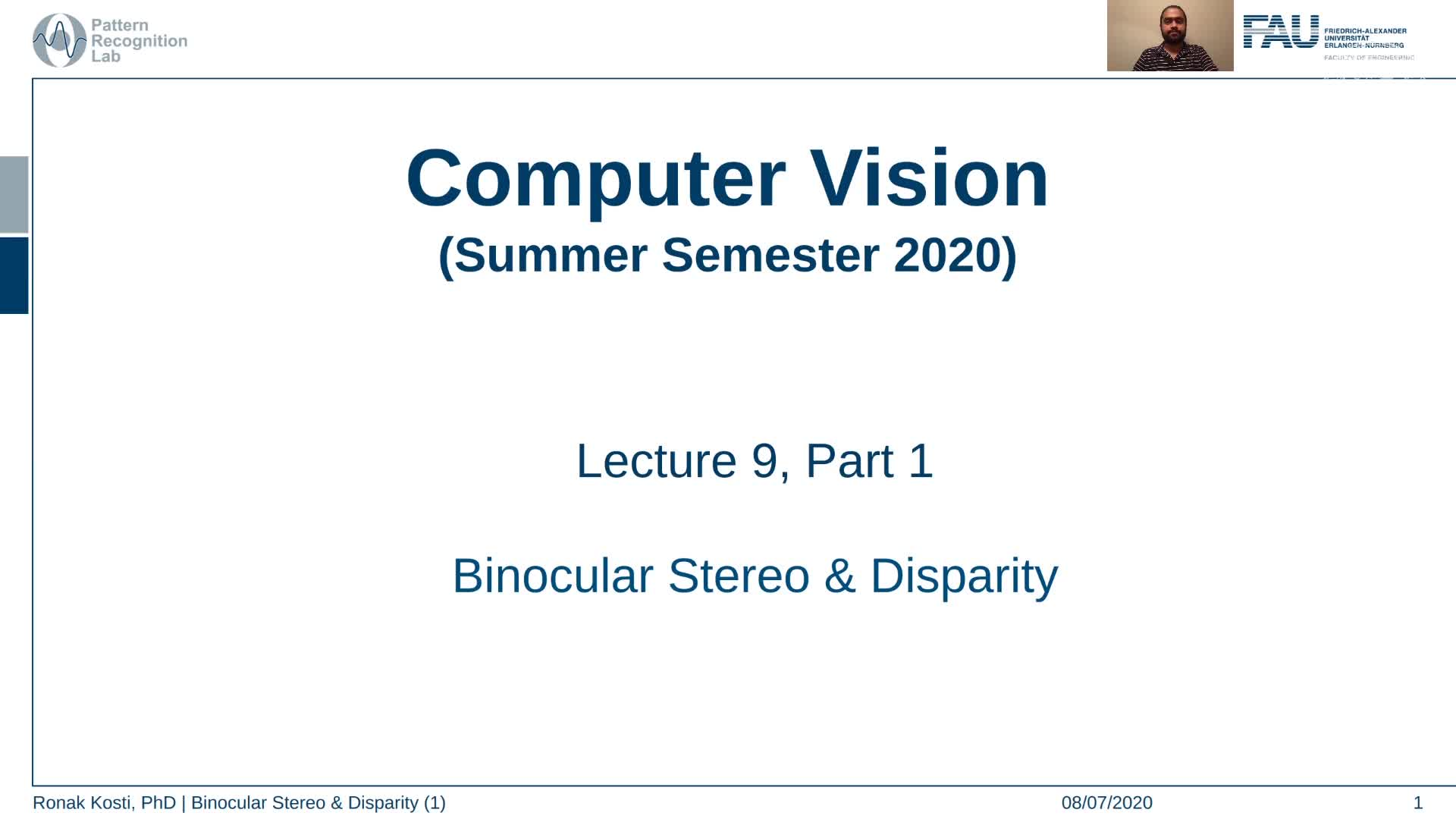 Binocular Stereo and Disparity (Lecture 9, Part 1) preview image