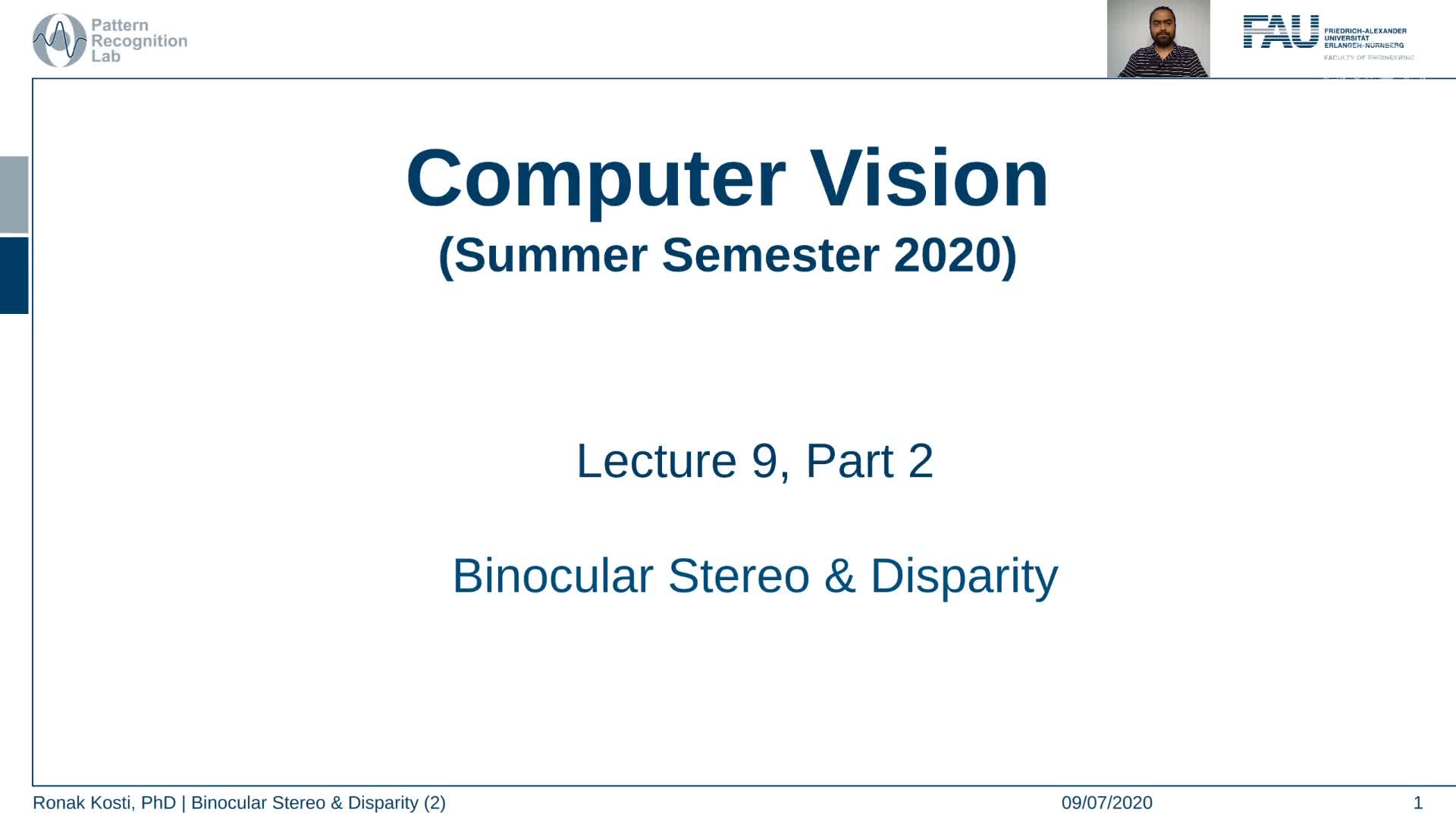 Binocular Stereo and Disparity (Lecture 9, Part 2) preview image