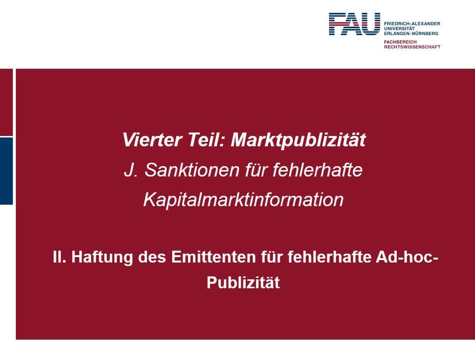 Haftung des Emittenten für fehlerhafte Ad-hoc-Publizität (2) preview image