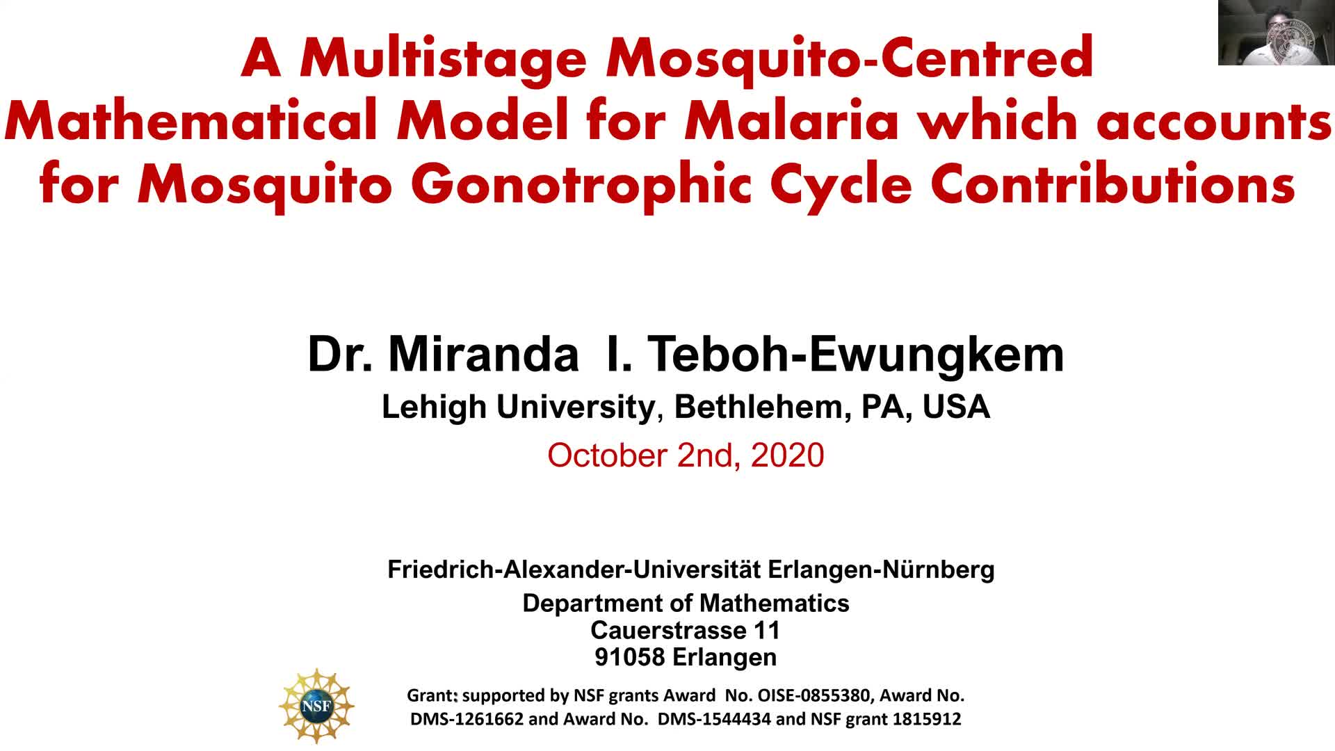 A Multistage Mosquito-Centred-Mathematical Model for Malaria which accounts for Mosquito Gonotrophic Cycle Contributions (Miranda Teboh-Ewungkem, Lehigh University) preview image