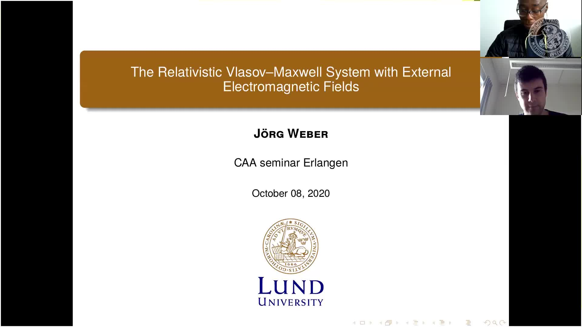 The Relativistic Vlasov–Maxwell System with External Electromagnetic Fields (Joerg Weber, Lund University) preview image