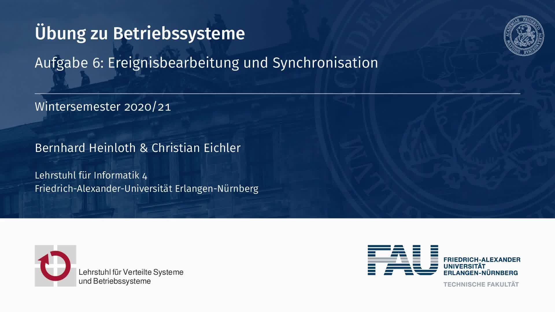 Aufgabe 6: Ereignisbearbeitung und Synchronisation preview image