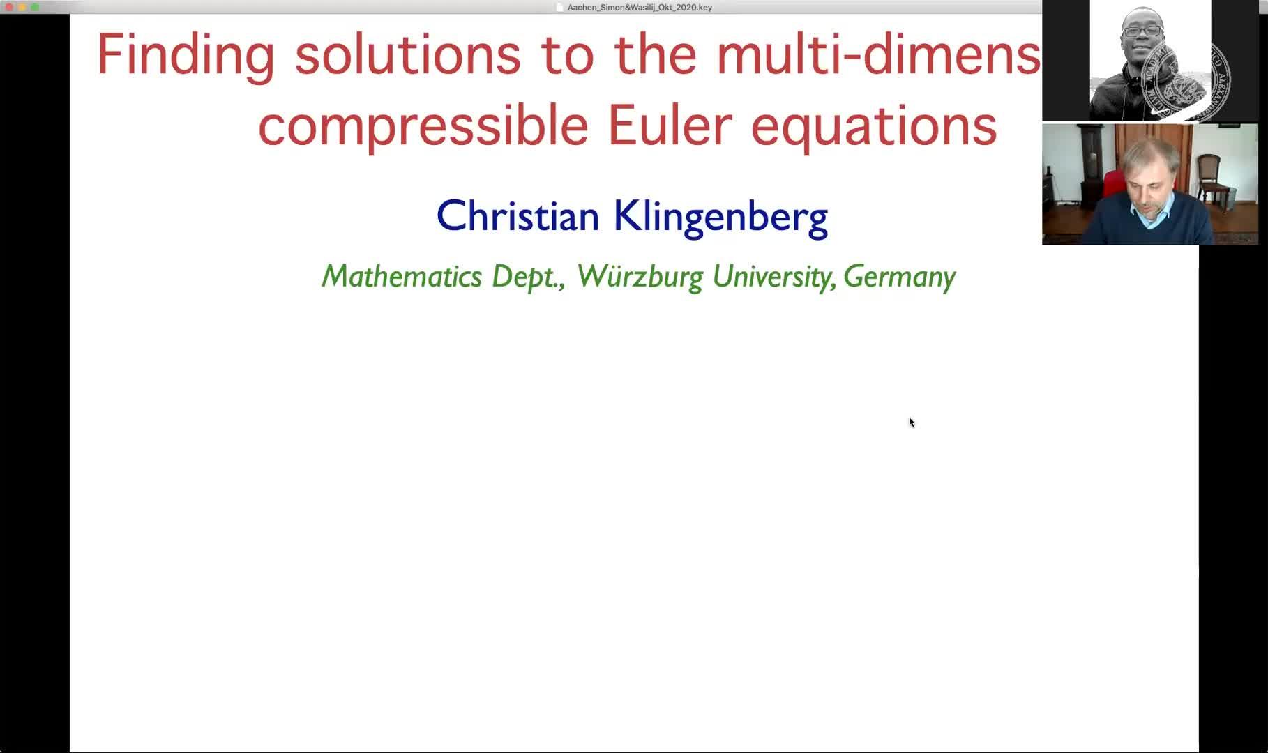 Finding solutions of the multi-dimensional compressible Euler equations (Christian Klingenberg, Universität Würzburg) preview image