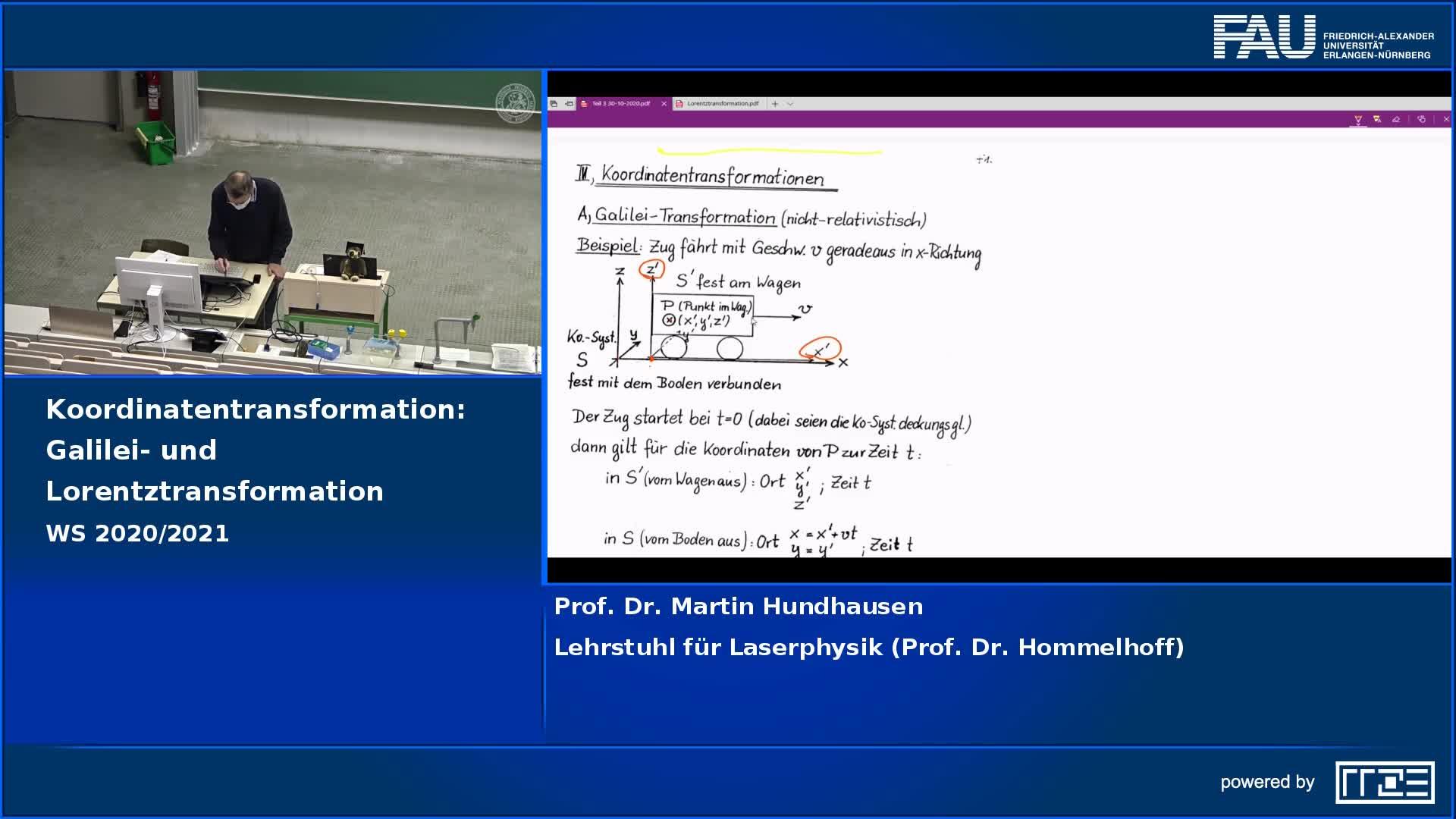Koordinatentransformation: Galilei- und Lorentztransformation preview image