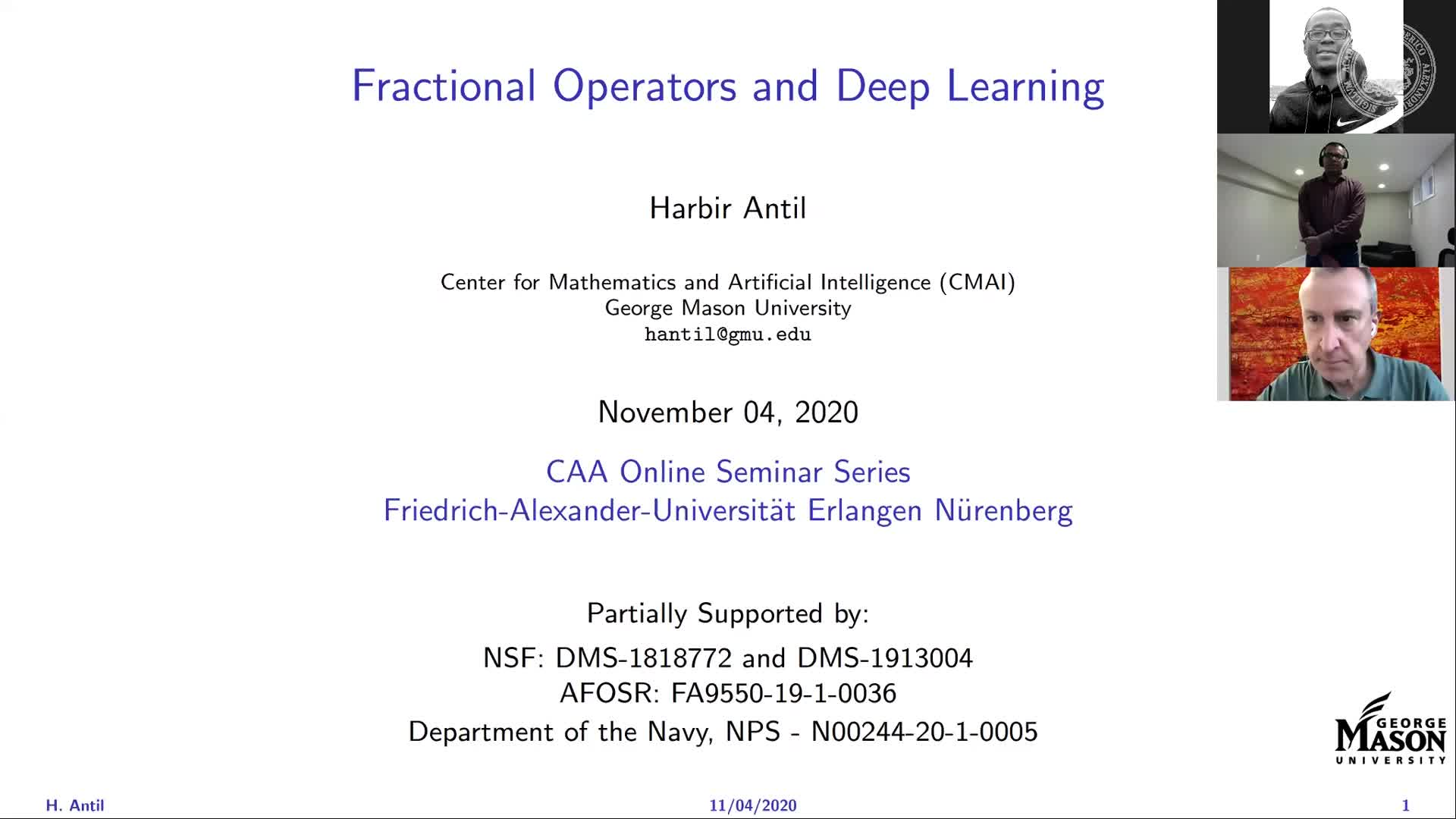 Deep Learning and Optimal Control with Fractional Operators (Harbir Antil, George Mason University) preview image