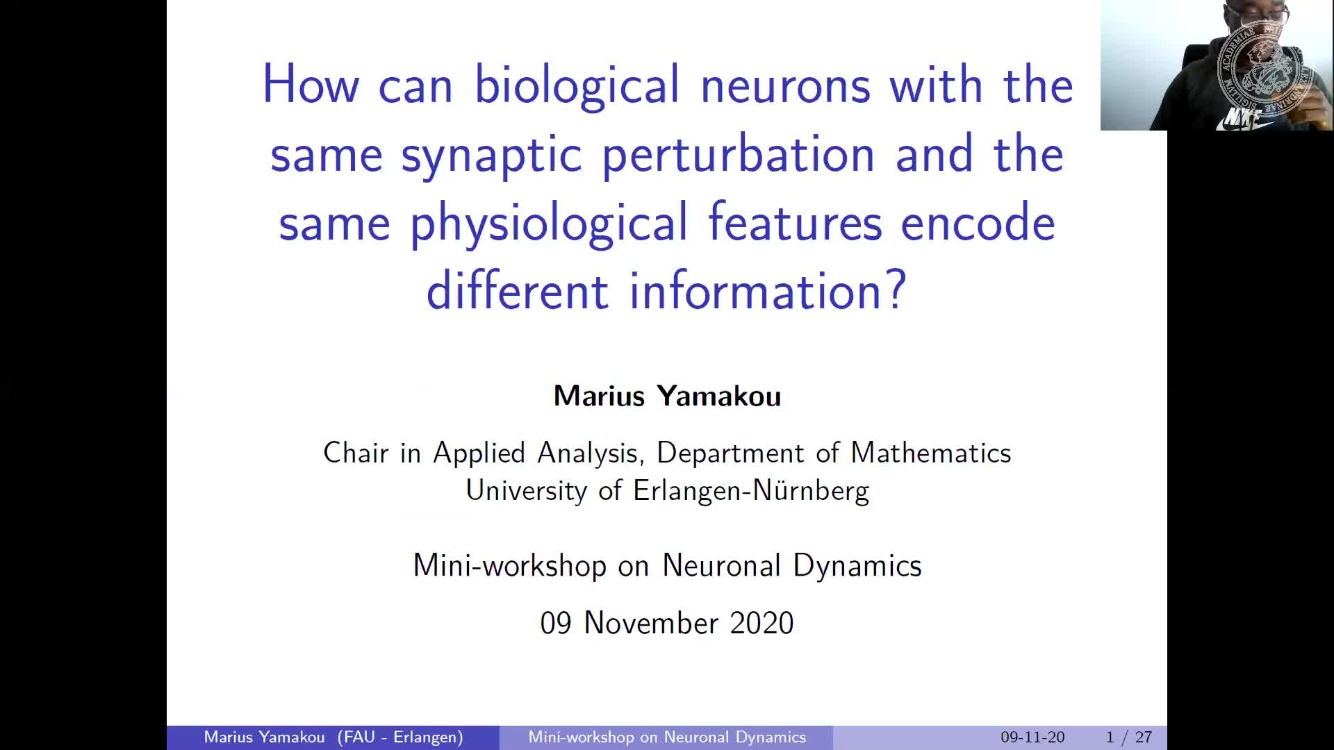 How can biological neurons with similar synaptic inputs and physiological features encode different information? (Marius Yamakou, FAU) preview image