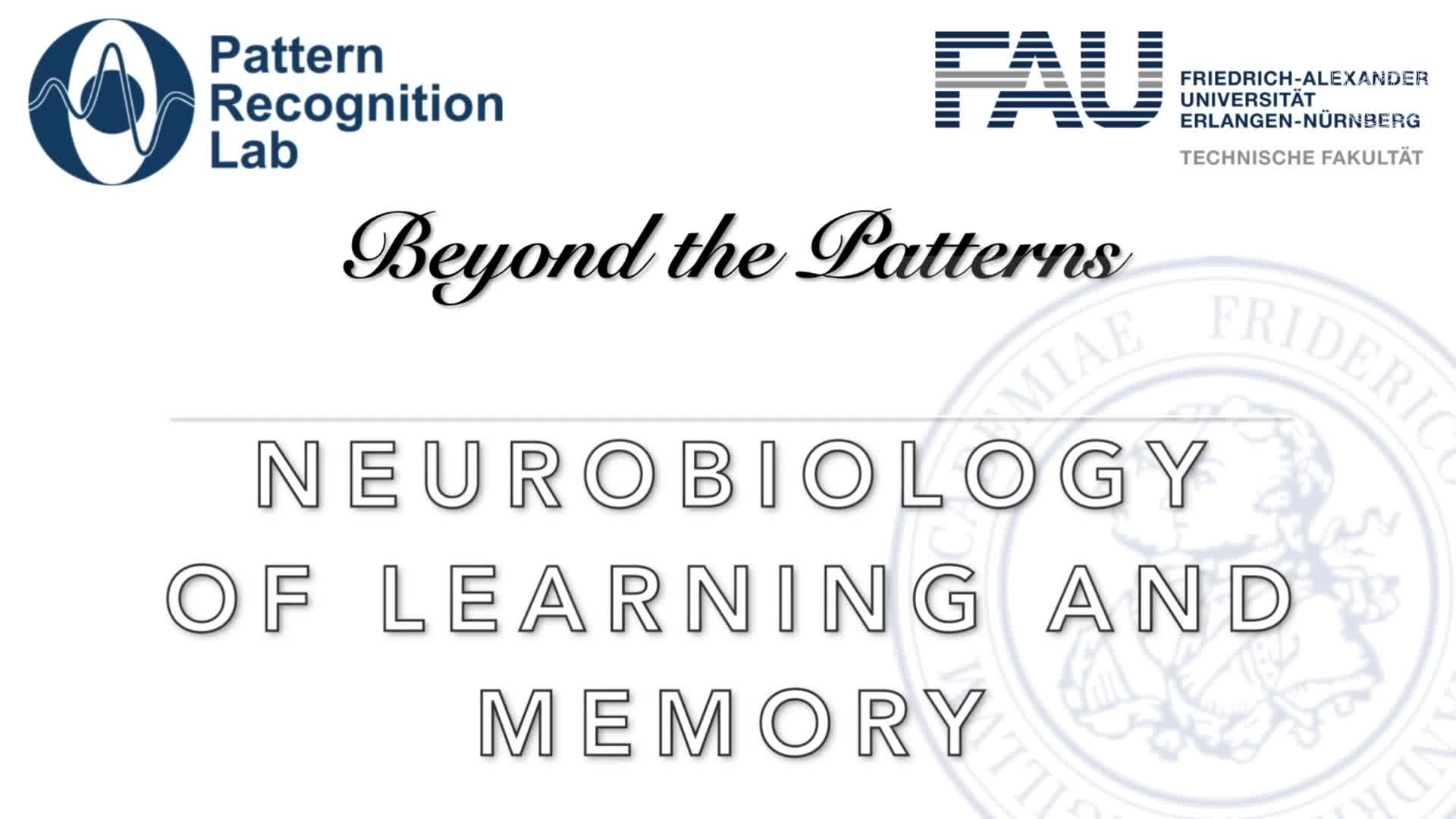 Beyond the Patterns - Prof. Dr. Holger Schulze - Neurobiology of Learning preview image
