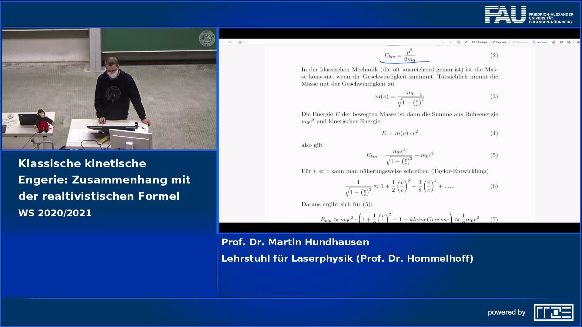 Klassische kinetische Energie: Zusammenhang mit der relativistischen Formel preview image
