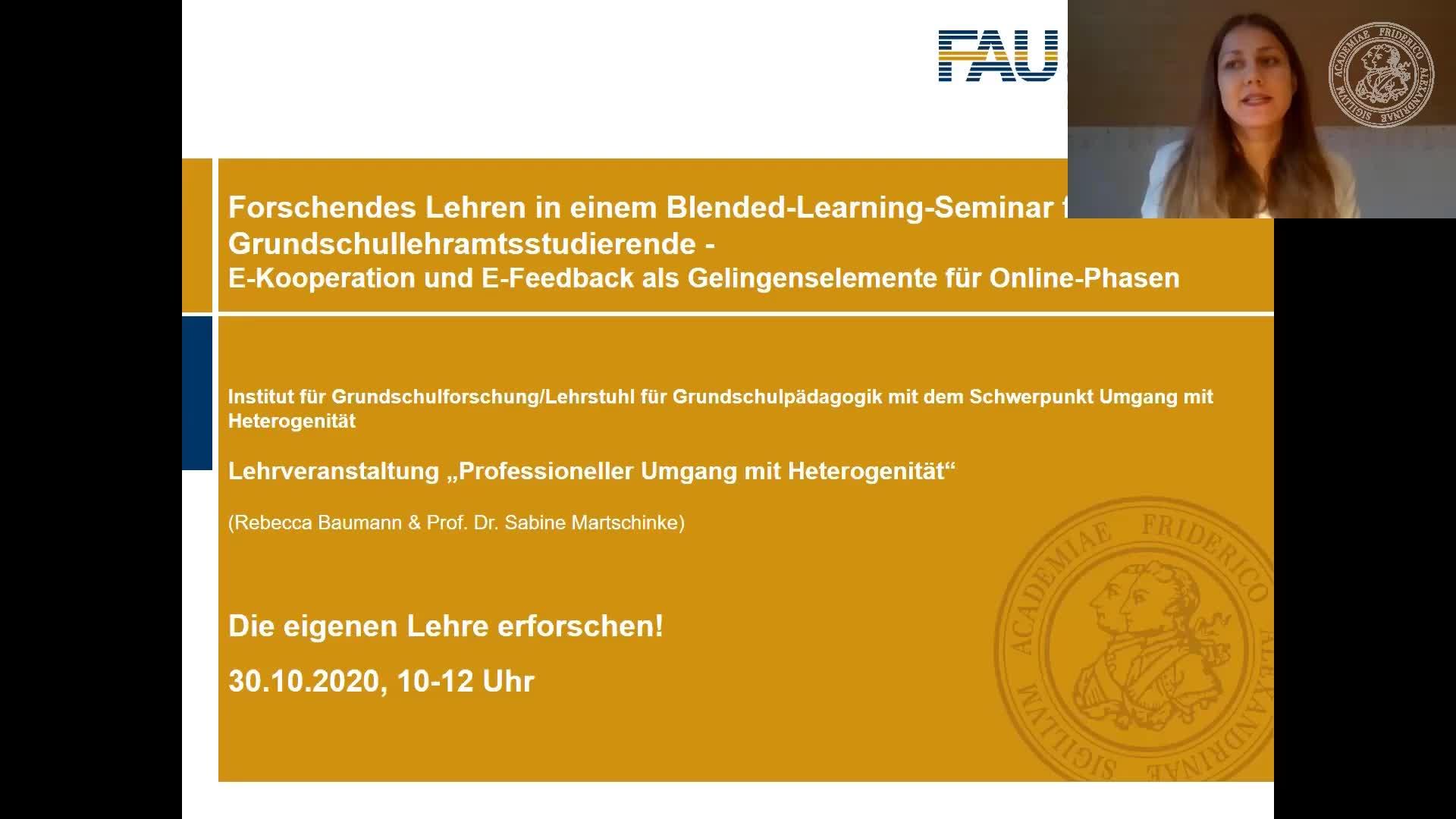 Rebecca Baumann & Prof. Dr. Sabine Martschinke: Forschendes Lehren in einem Blended-Learning-Seminar für Grundschullehramtsstudierende preview image
