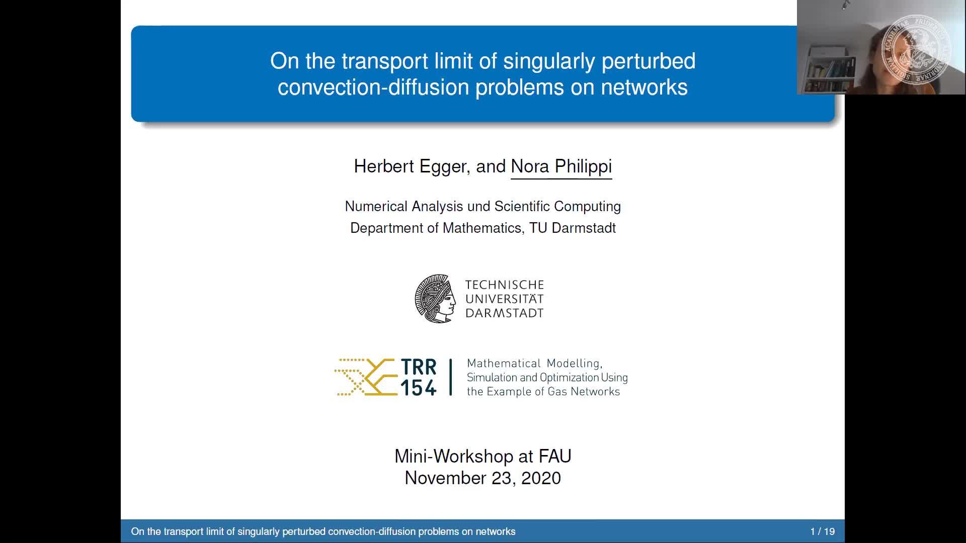 On the transport limit of singularly perturbed convection-diffusion problems on networks (Nora Marie Philippi, TU Damstadt) preview image