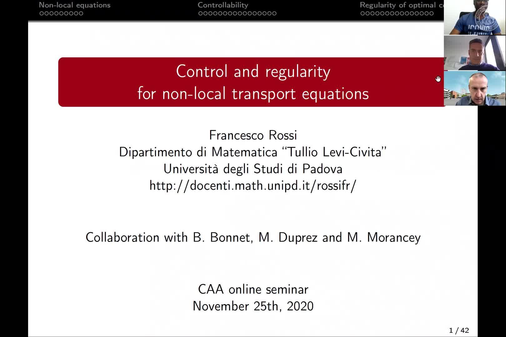 Control and regularity for non-local transport equations (Francesco Rossi, Università di Padova) preview image