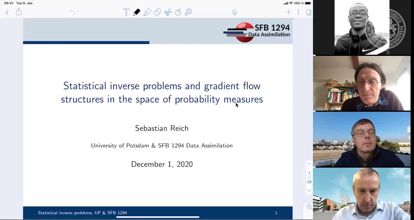 Statistical inverse problems and gradient flow structures in the space of probability measures (Sebastian Reich, Univesität Potsdam) preview image