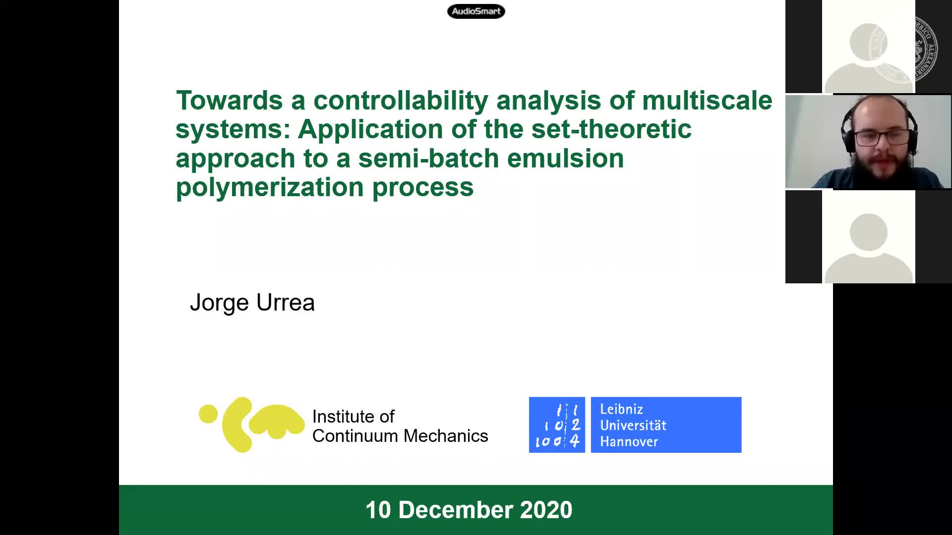 Towards a controllability analysis of multiscale systems: Application of the set-theoretic approach to a semi-batch emulsion polymerization process (Jorge Urrea, Leibniz University Hannover and Universidad de Antioquia) preview image