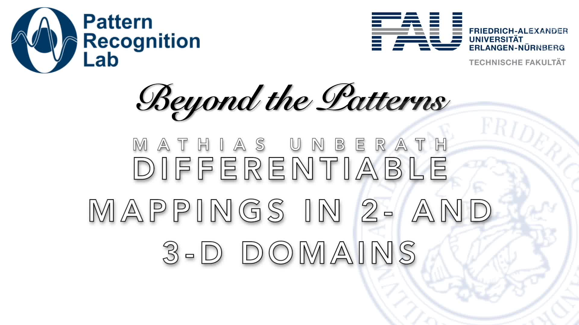 Beyond the Patterns - Mathias Unberath - Bridging Domains in Medical Imaging — Differentiable Mappings Between 2- and 3-Dimensional Data Domains preview image