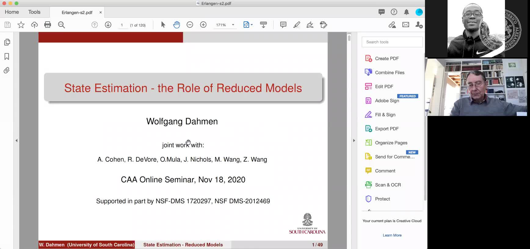 State Estimation – the Role of Reduced Models (Wolfgang Dahmen, University of South Carolina) preview image
