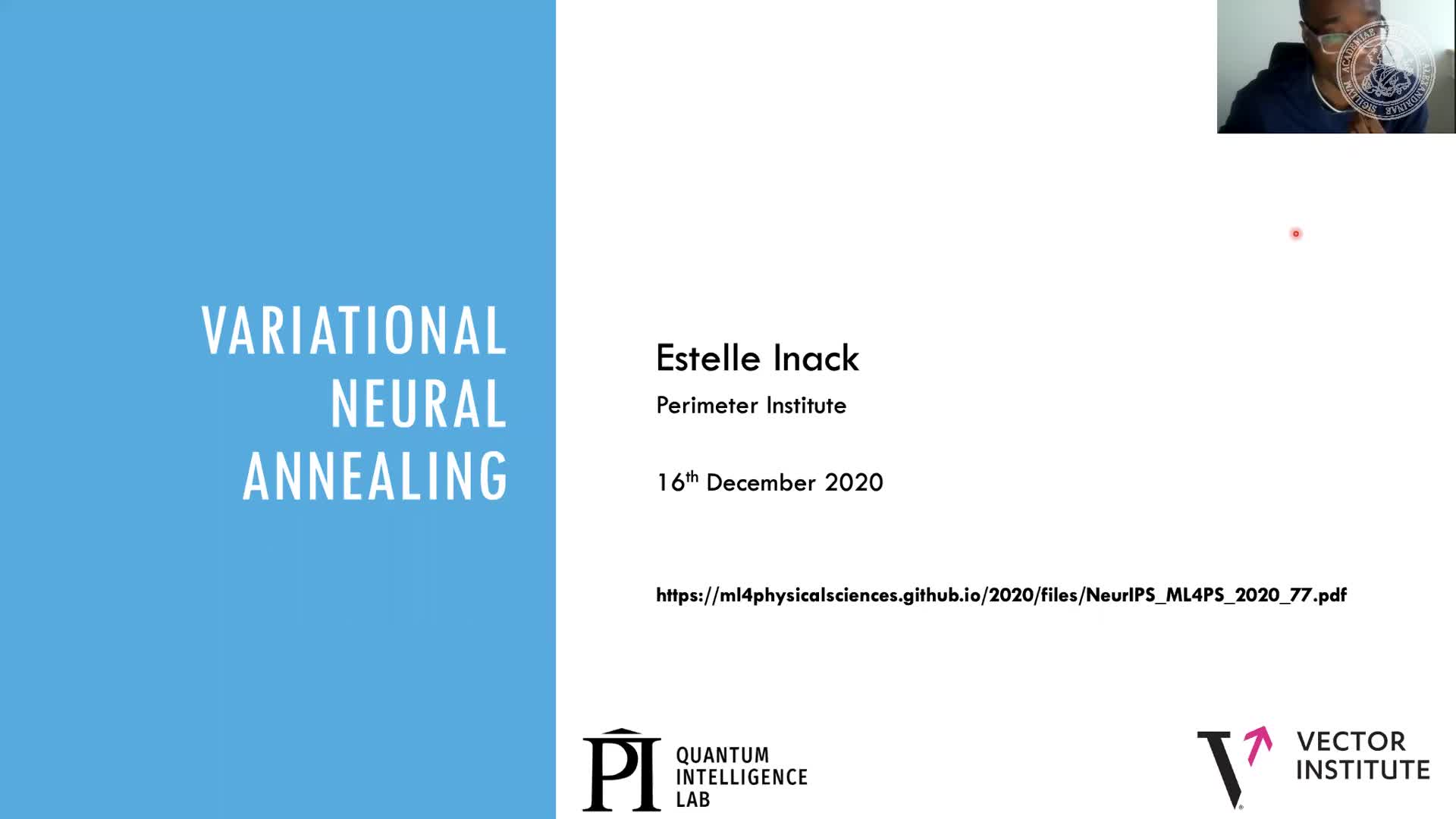 Variational neural annealing (Estelle Inack Affiliation, Perimeter Institute for Theoretical Physics) preview image